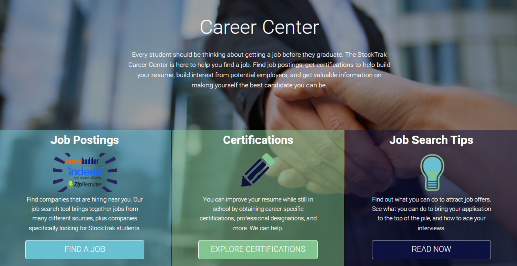 New Career Center Stocktrak Content Pages