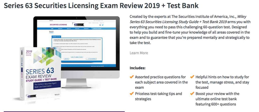 Wiley Series 63 Review course details