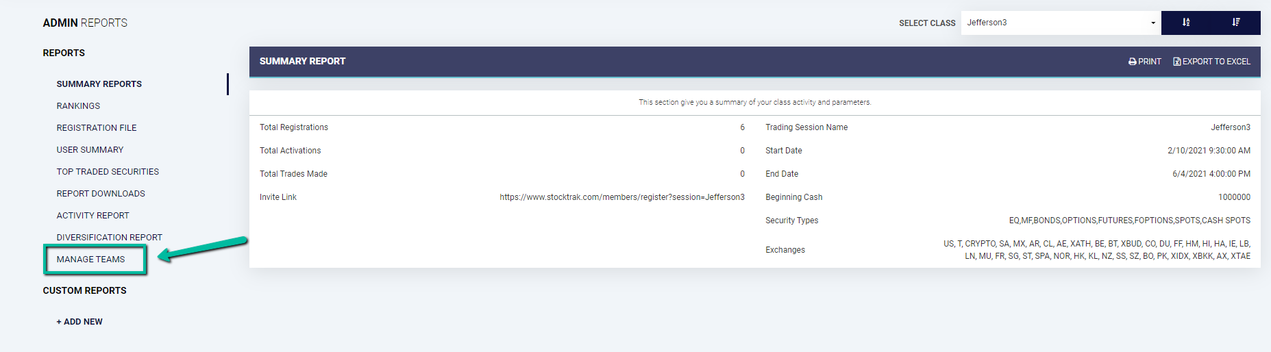 StockTrak Accessing Teams Management Page